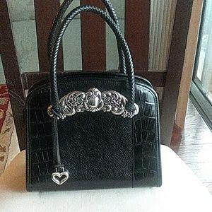 Brighton vintage black leather handbag